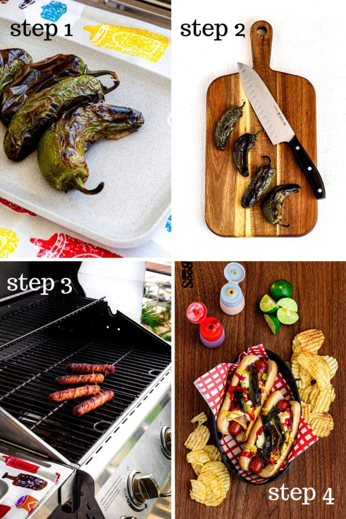 How to grill and assemble Sonoran Hot Dogs, step by step, as shown in 4 images.