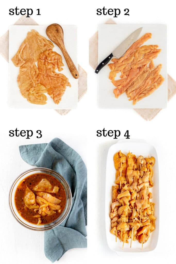 How to assemble teriyaki chicken on a stick, step by step, shown in a 4-image collage.