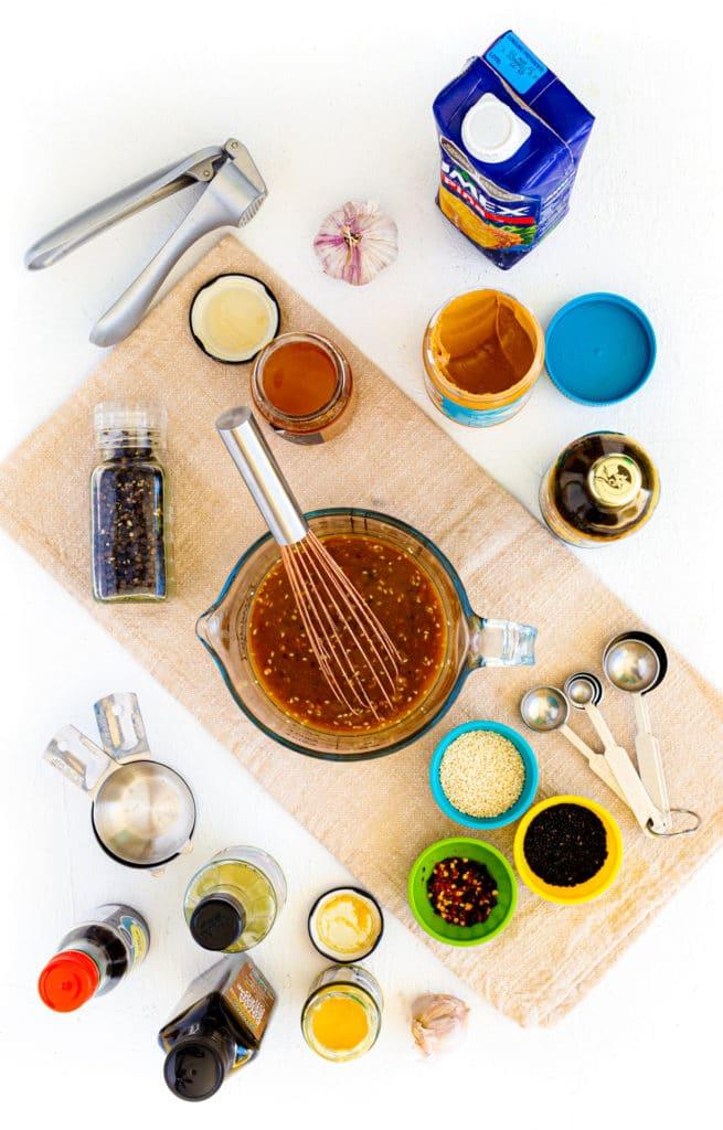 How to make homemade teriyaki sauce for marinating chicken skewers.