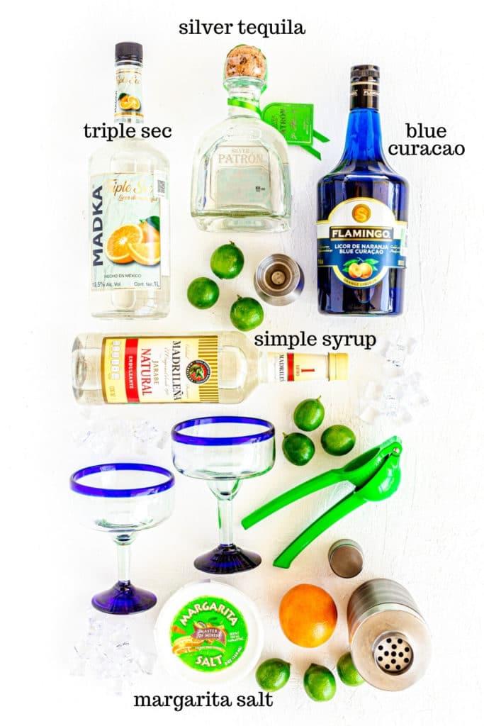 Ingredients for authentic Blue Margarita recipe.