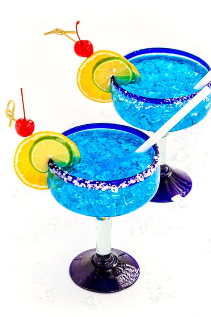 Authentic Mexican Blue Margaritas in hand-blown Margarita glasses from Puerto Vallarta, Mexico.