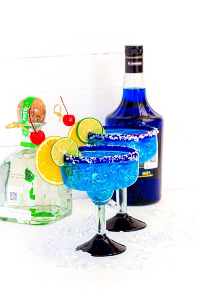 Blue Margarita in a blown-glass Mexican Margarita glass with a blue rim.
