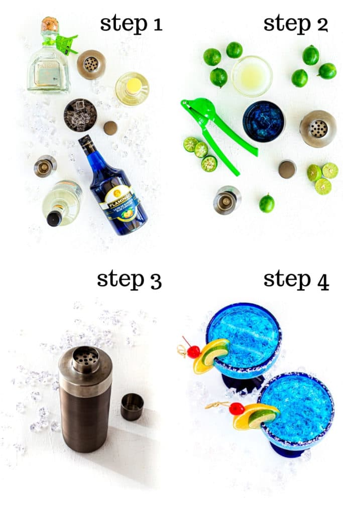 How to make Blue Margarita recipe, step by step, as show in 4 overhead images.