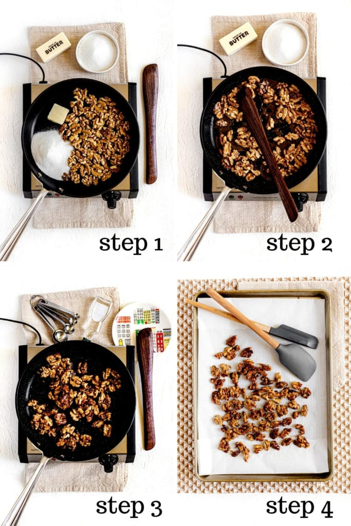 How to make candied walnuts in 4 easy steps, as shown in this 4-image collage.