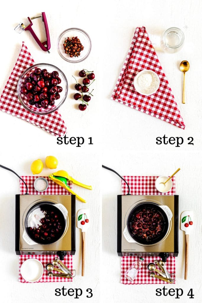 Four image collage showing how to make fruit filling for cherry turnovers, step by step.