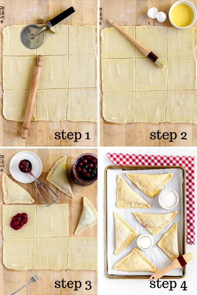 How to assemble cherry hand pies in 4 steps as shown in this 4-image collage.