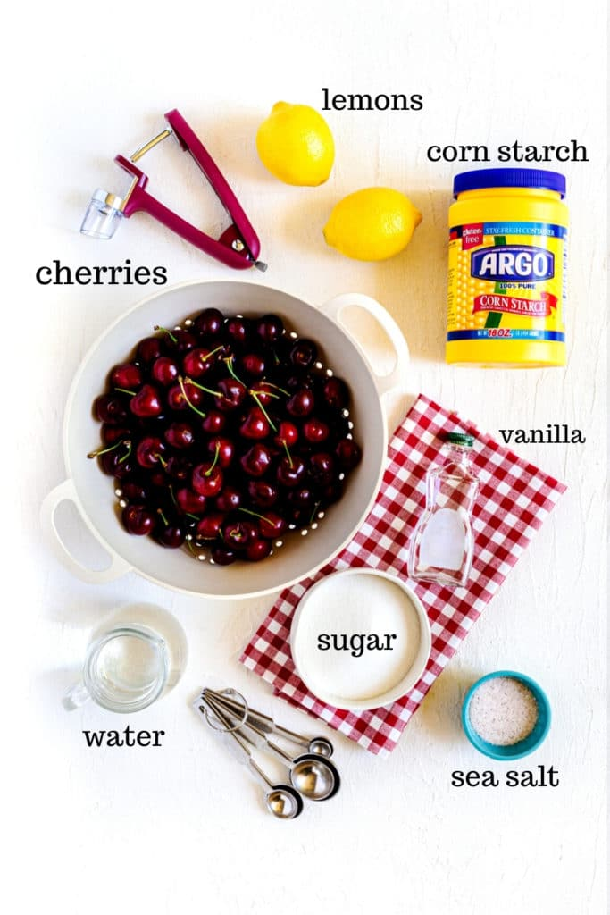 Ingredients for making the cherry fruit filling for cherry turnovers.