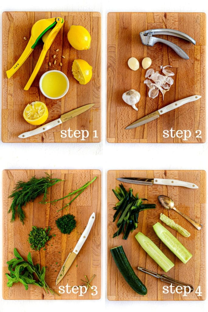 How to prep the fresh ingredients for tzatziki sauce recipe in 4 easy steps.