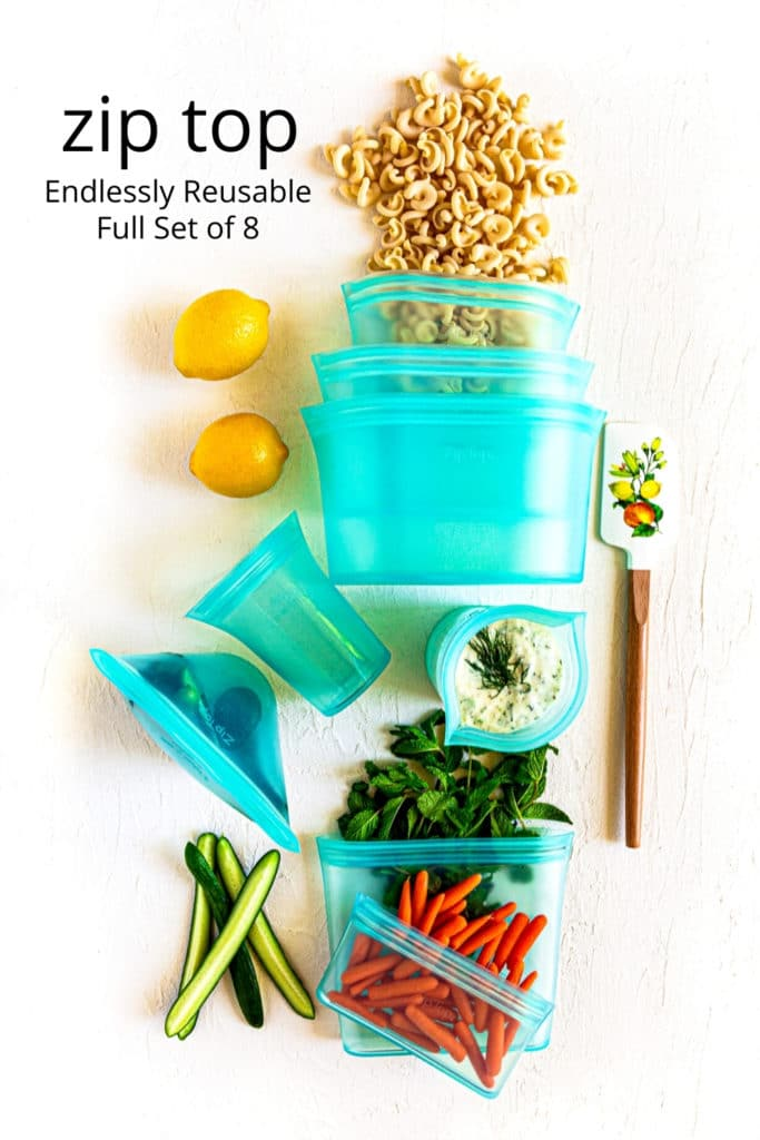Tzatziki and fresh ingredients stored in Zip Top containers for freshness.