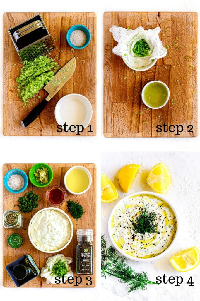How to make Greek gyro sauce in 4 easy steps, as shown in 4-image collage.
