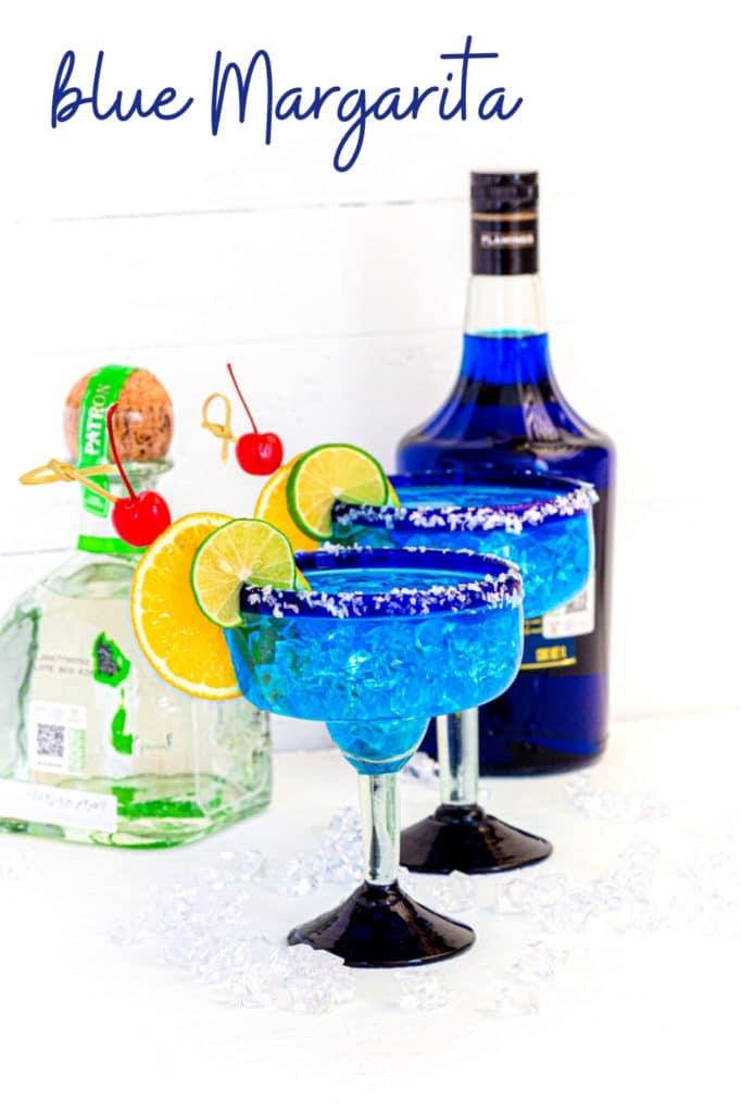 Pinterest Graphic for Blue Margarita Recipe