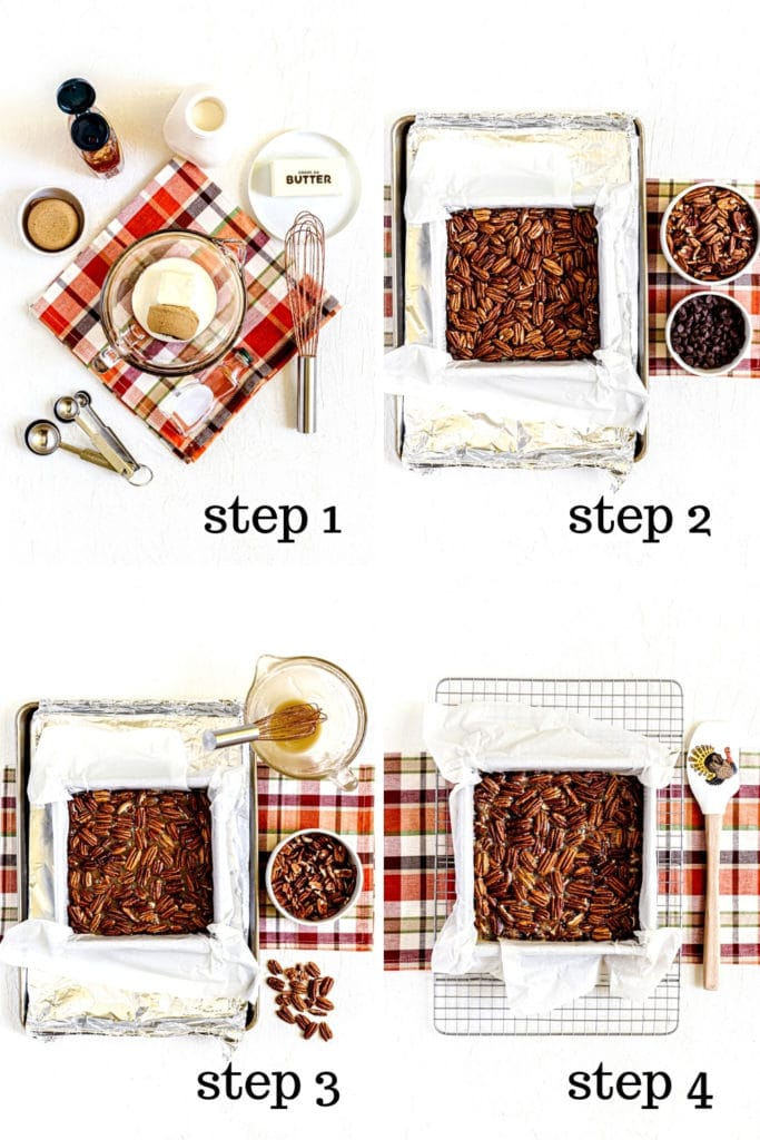 How to make the filling for chocolate pecan pie bars in 4 easy steps.