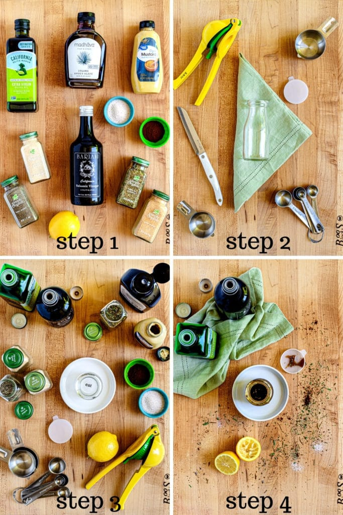 How to make balsamic vinaigrette from scratch in 4 easy steps as shown in this 4-image collage.