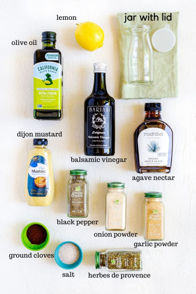 Ingredients for Creamy Balsamic Dressing from scratch.