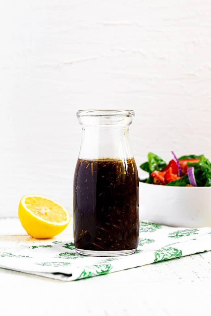 Jar of homemade balsamic dressing.