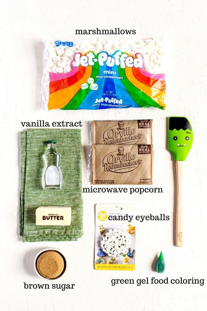 Ingredients for green popcorn slime (AKA Monster Popcorn).