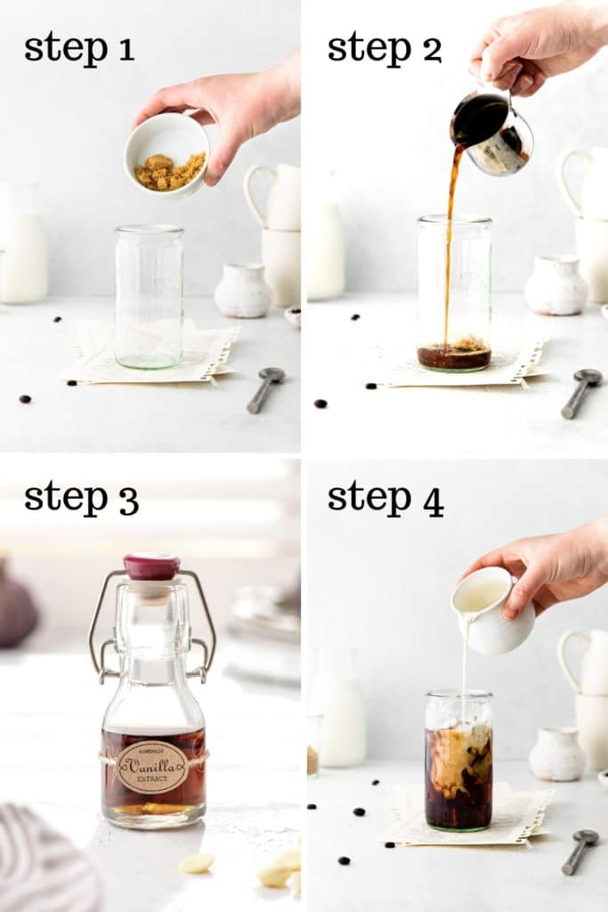 How to make an iced vanilla latte in 4 easy steps (as shown in this 4-image collage).