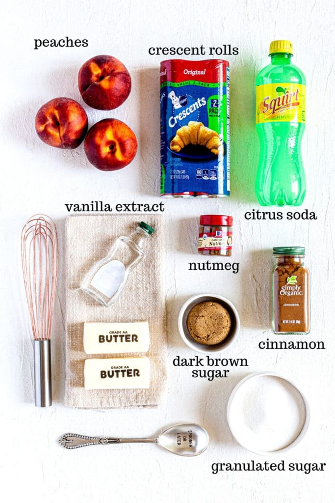 Ingredients for peach dumplings made with crescent rolls.