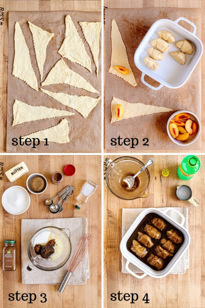 How to make peach dumplings with crescent rolls in 4 easy steps.