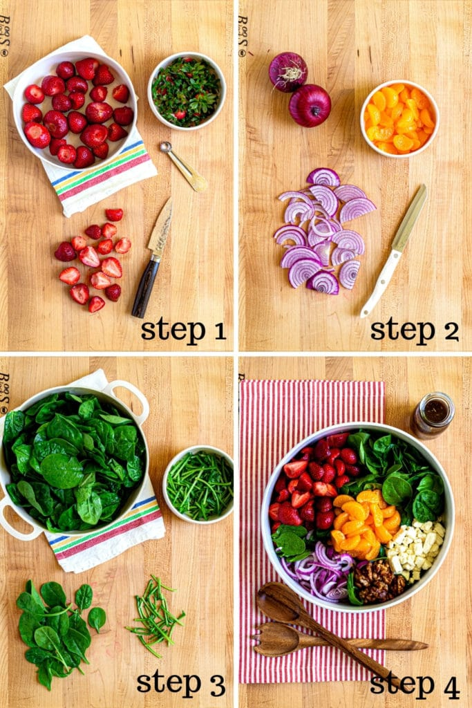 How to assemble spinach and strawberry salad in 4 easy steps.