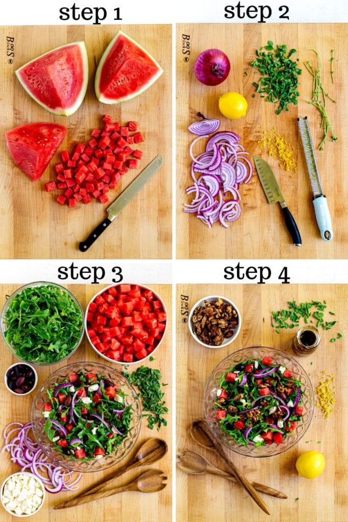 How to made watermelon arugula salad with feta in 4 easy steps.
