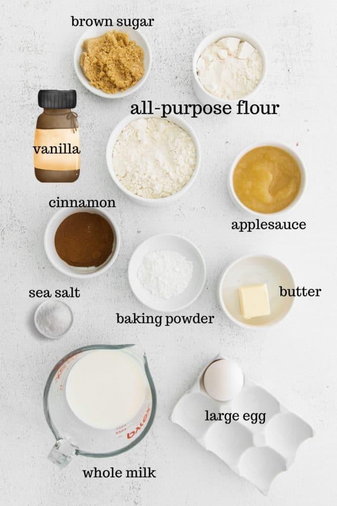 Ingredients for homemade apple cinnamon waffles.