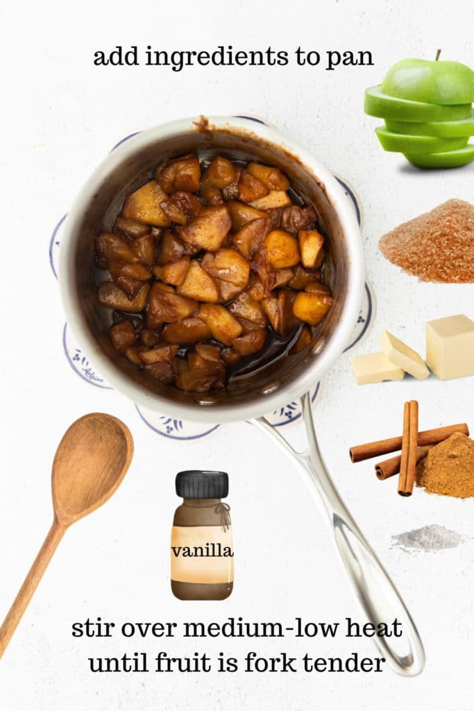 How to make apple topping for waffles in a pan on stovetop.