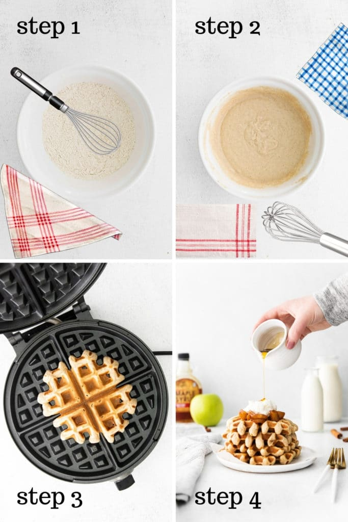 How to make cinnamon waffles with applesauce, in 4 easy steps.