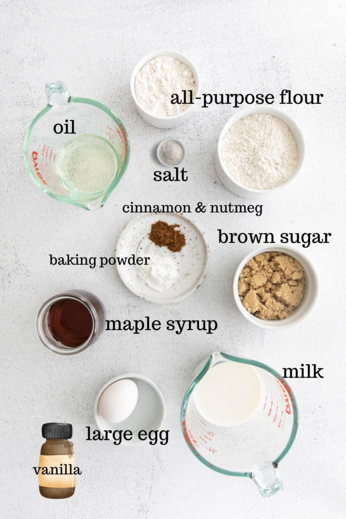 Ingredients for Baked Cinnamon Donuts.