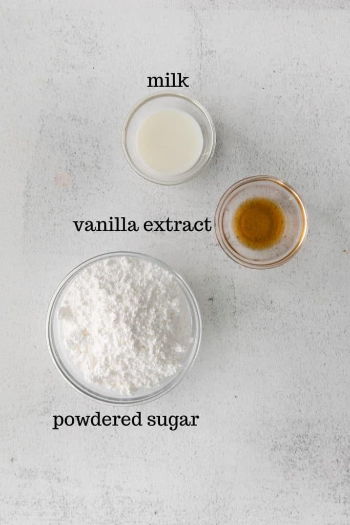 Vanilla glaze ingredients for baked cake donuts.