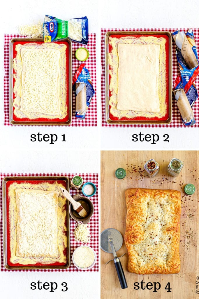 How to make cheesy garlic breadsticks in 4 easy steps.