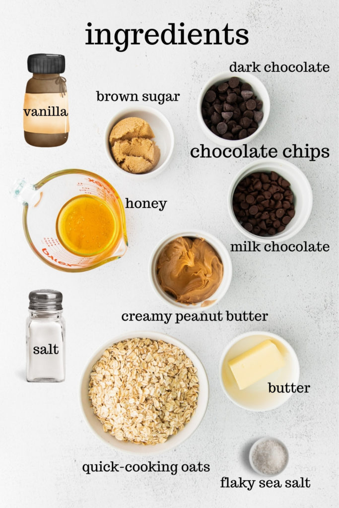Ingredients for chewy chocolate chip granola bars.