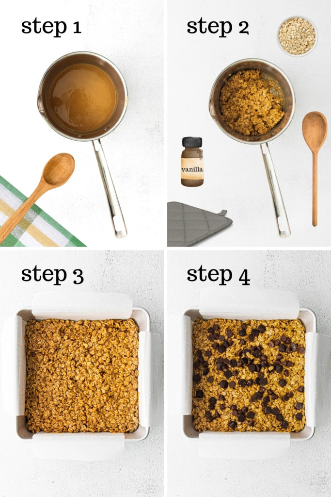 How to make chewy granola bar recipe in 4 easy steps.