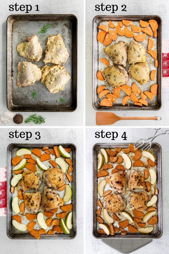 How to make a chicken thigh sheet pan dinner in 4 easy steps.