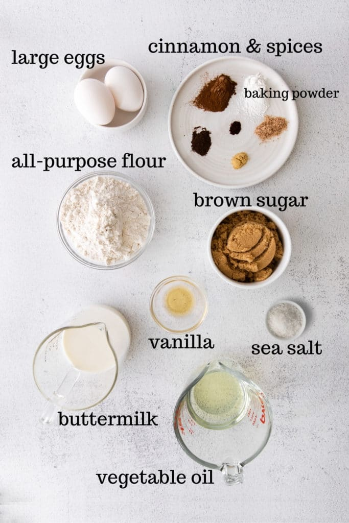 Ingredients for cinnamon cupcakes (AKA: spice cupcakes).