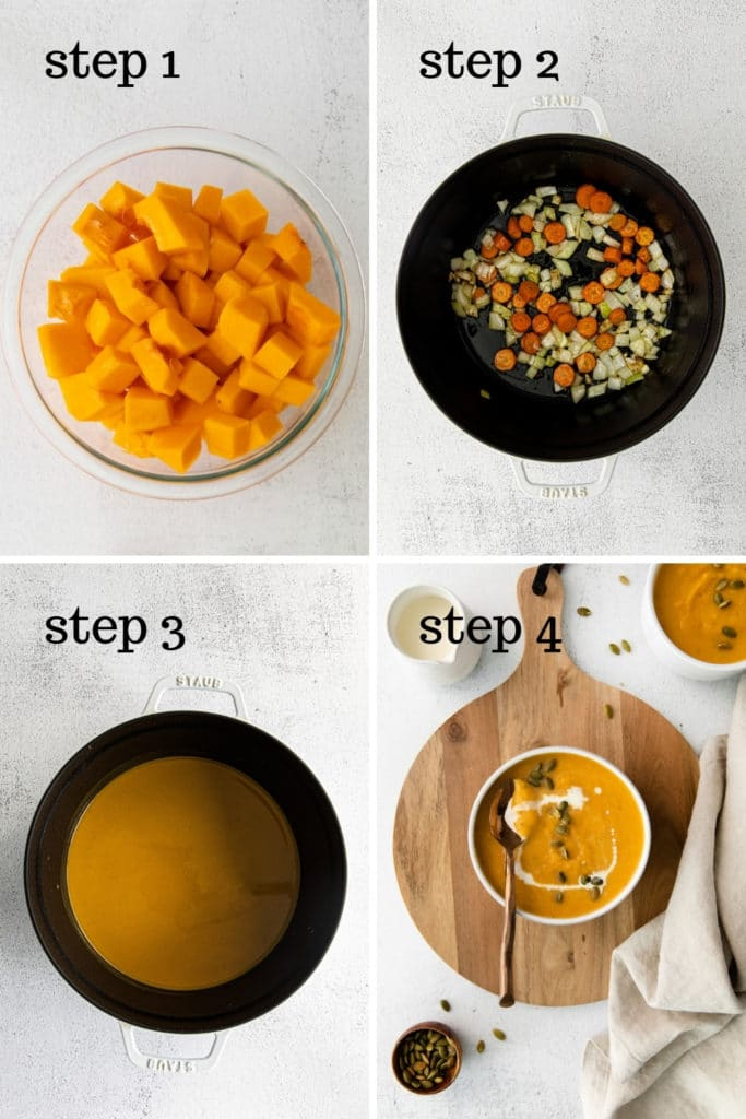 How to make the best butternut squash soup in 4 easy steps.