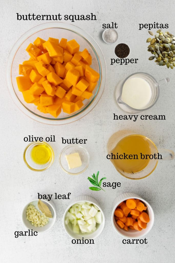 Ingredients for creamy butternut squash soup.