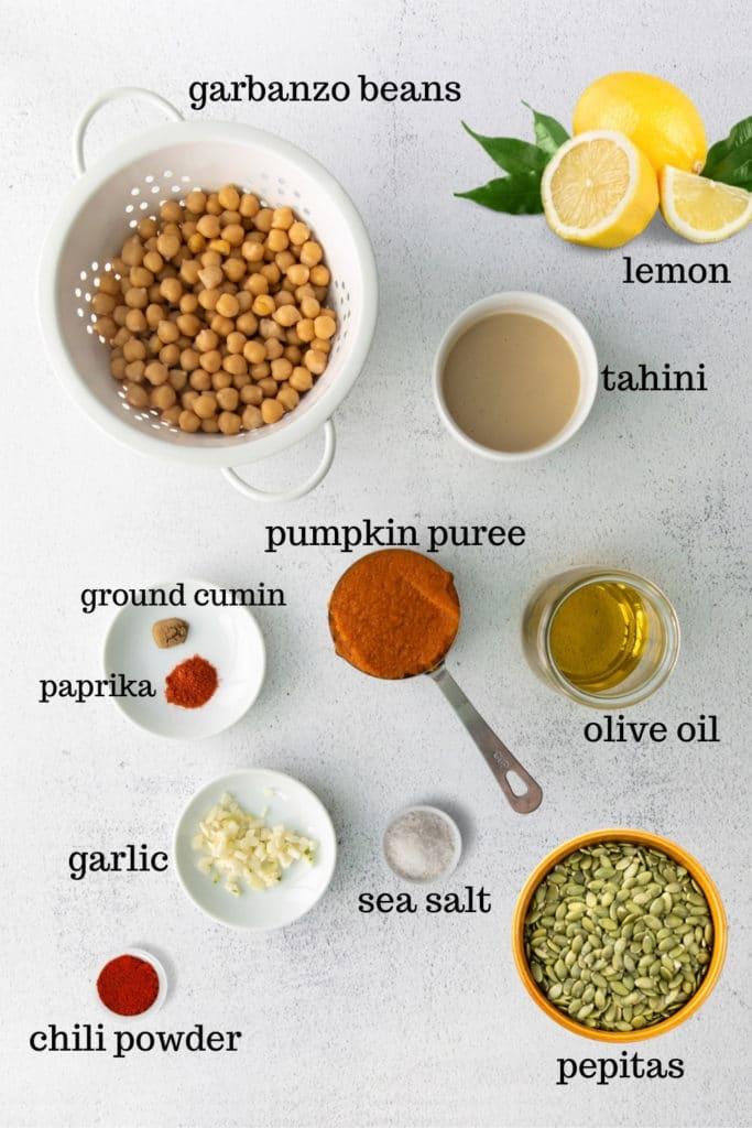 Ingredients for pumpkin hummus recipe.