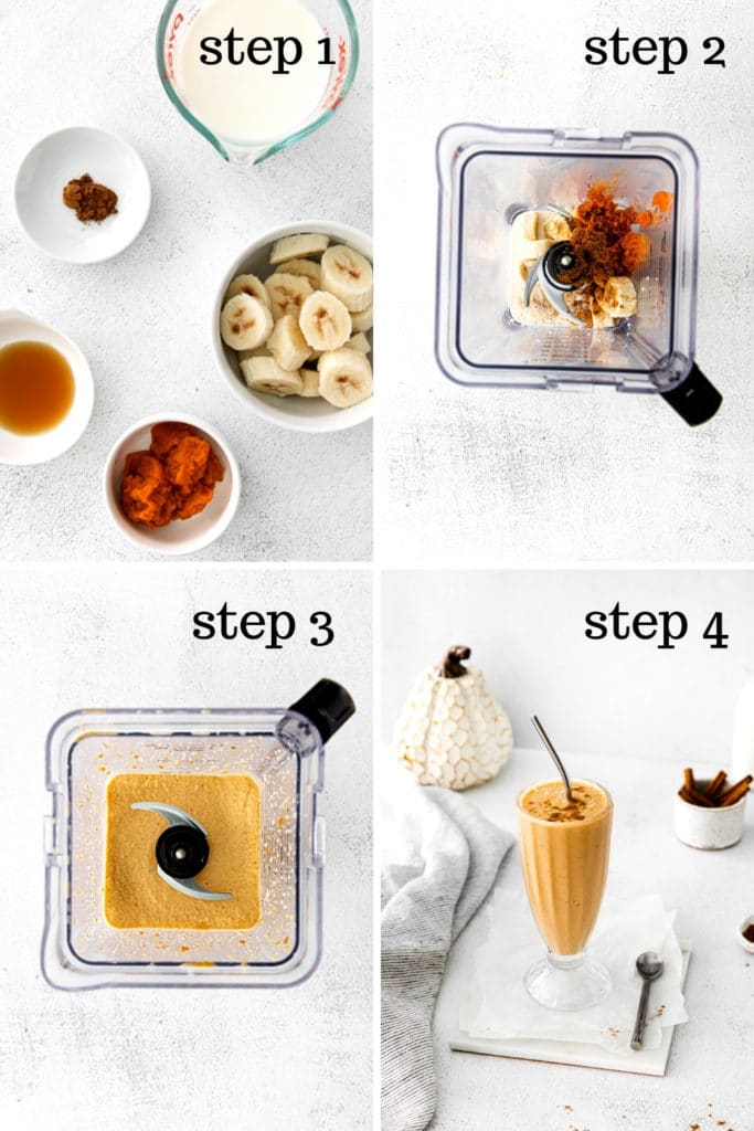 How to make a healthy pumpkin pie smoothie in 4 easy steps.