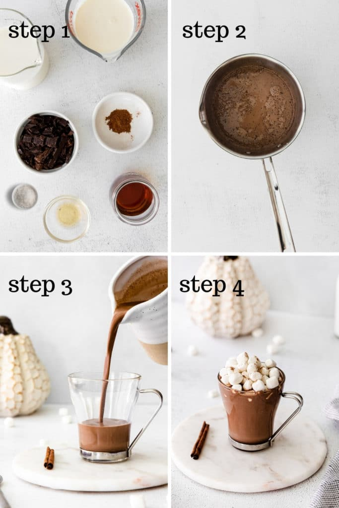 How to make pumpkin spice hot chocolate Starbucks at home in 4 easy steps.