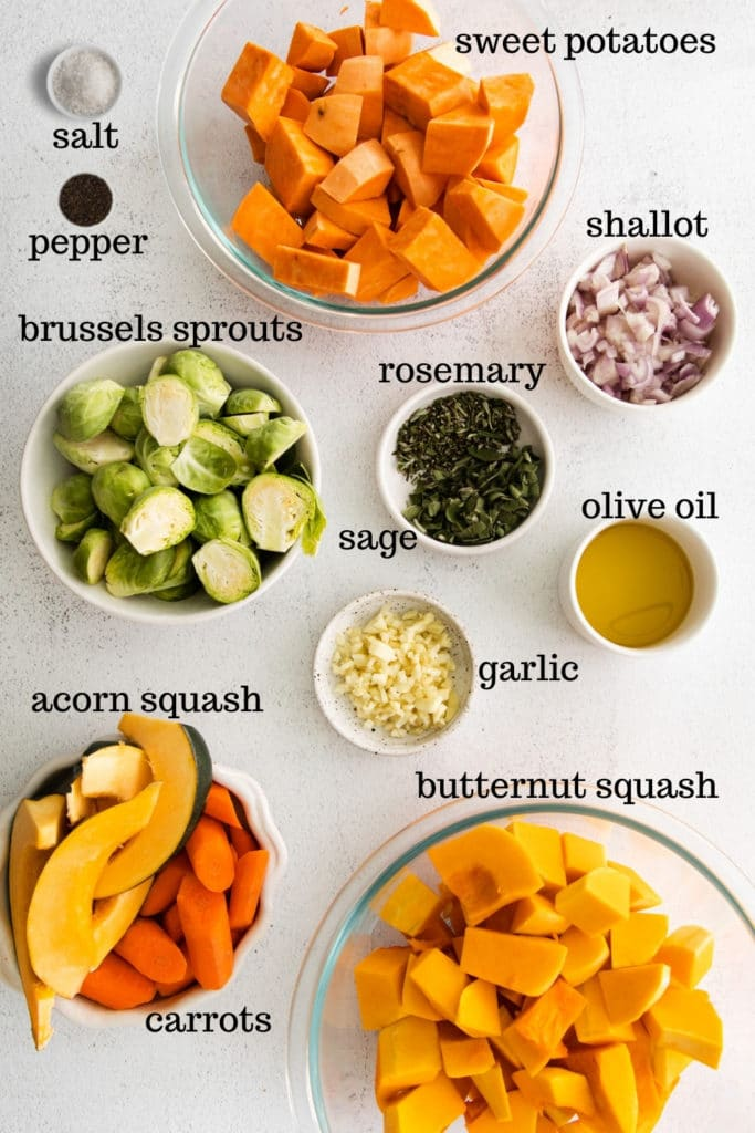 Ingredients for making roasted fall vegetables for Thanksgiving.