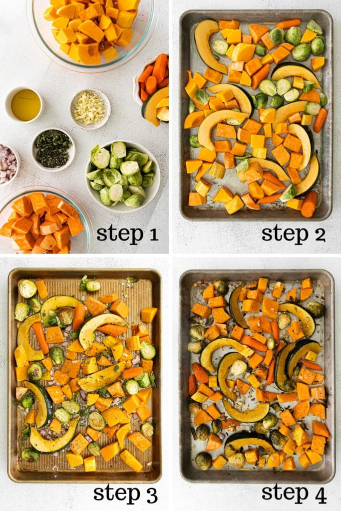 How to make roasted fall vegetables for Thanksgiving in 4 easy steps.