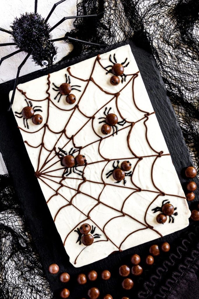 Slab of spiderweb chocolate bark on black stone serving tray surrounded by cloth cobwebs and spider.