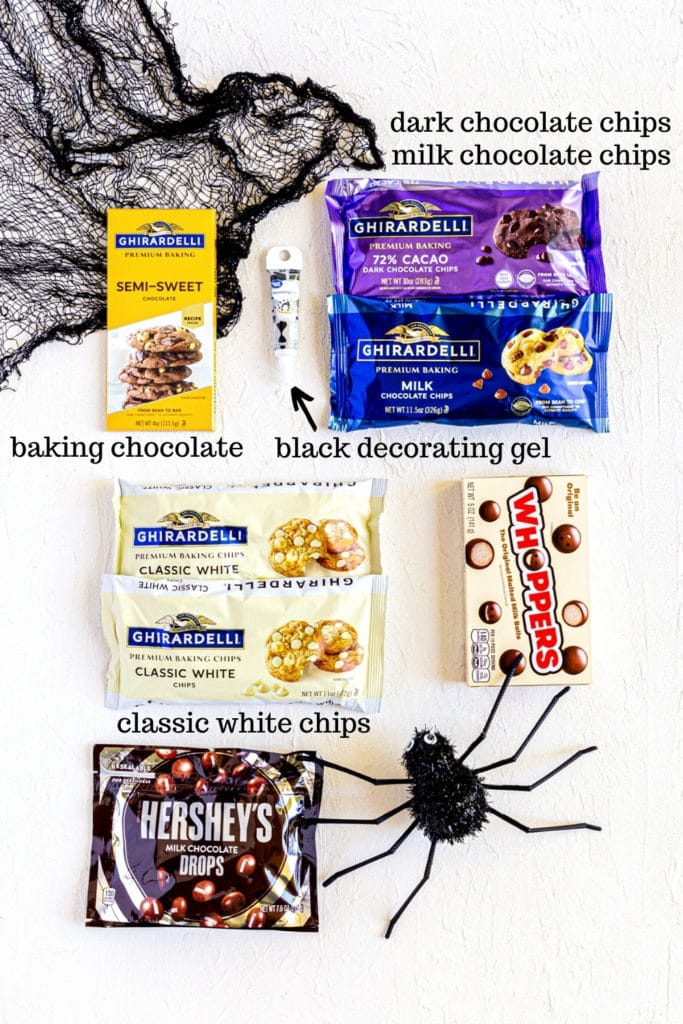 Ingredients for Spiderweb Halloween Bark.