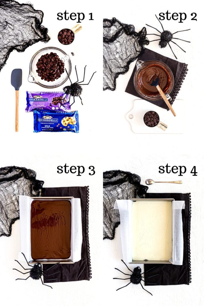 How to make Halloween chocolate bark in 4 easy steps.