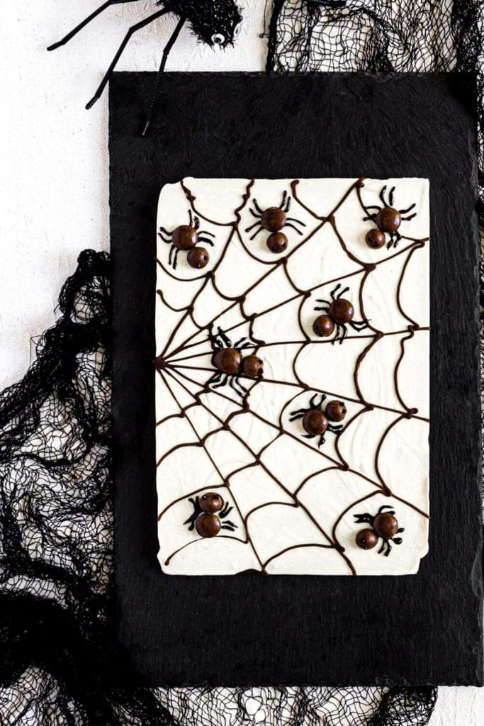 Close-up view of Cobwebs and spiders on a slab of chocolate bark on a black slate board..
