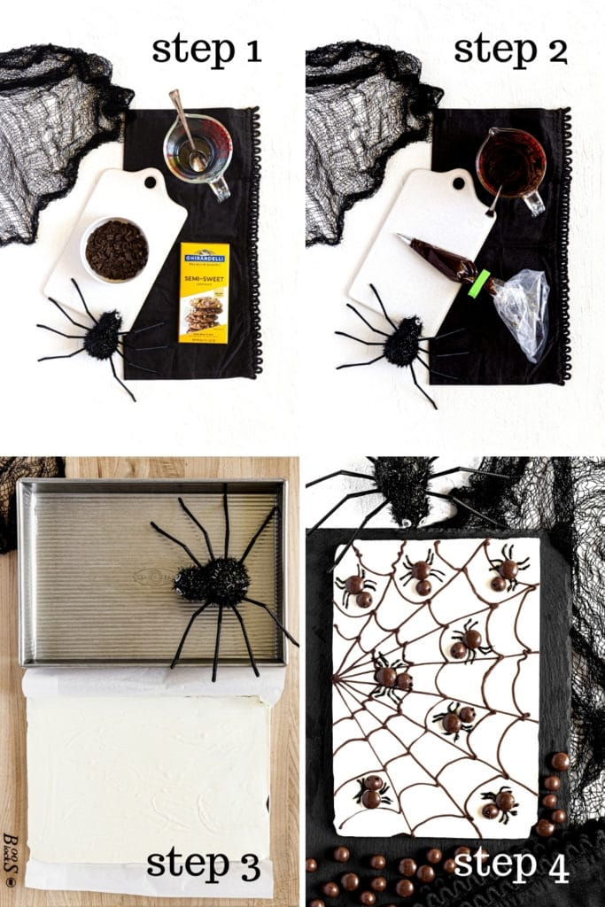 How to decorate Halloween bark with cobwebs and candy spiders in 4 easy steps.