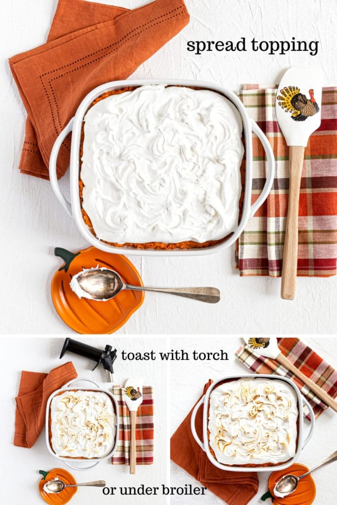 How to spread marshmallow fluff over sweet potato casserole and toast the peaks and swirls.