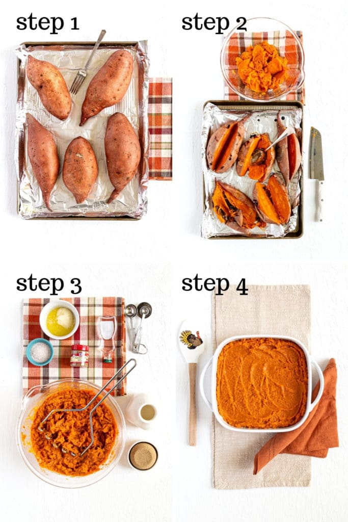 How to make Thanksgiving sweet potato casserole in 4 easy steps.