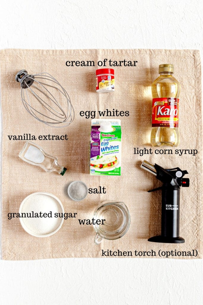 Ingredients for homemade marshmallow fluff topping for sweet potato casserole.